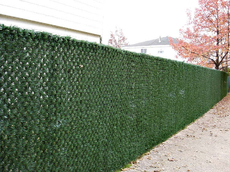 chain link fence slats brown. Chain Link Fence With Grass-Look Slats Brown